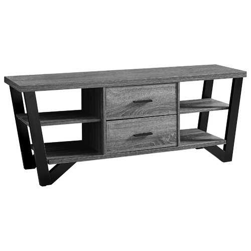 """15'.5"""" x 60"""" x 23"""" Grey, Black, Particle Board, Hollow-Core, Metal - TV Stand With 2 Drawers"""