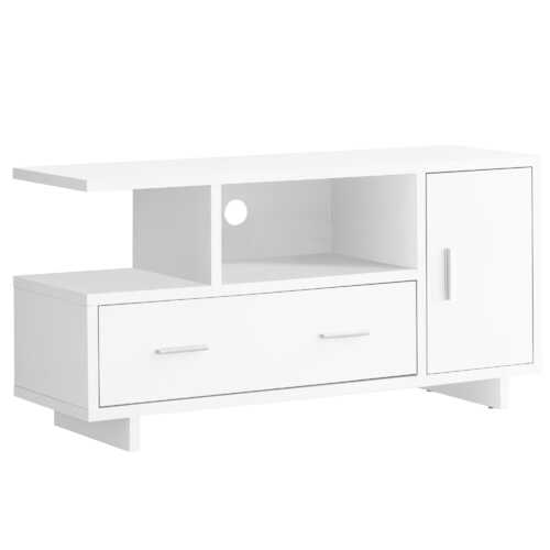 """15.5"""" x 47.25"""" x 23.75"""" White Particle Board Hollow Core TV Stand with Storage"""