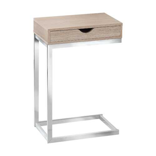 """10'.25"""" x 15'.75"""" x 24'.5"""" Natural, Particle Board, Metal, Drawer - Accent Table"""