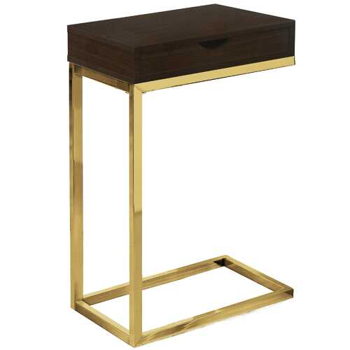 """10'.25"""" x 15'.75"""" x 24'.5"""" Cappuccino, Gold, Laminate, Particle Board, Drawer - Accent Table"""