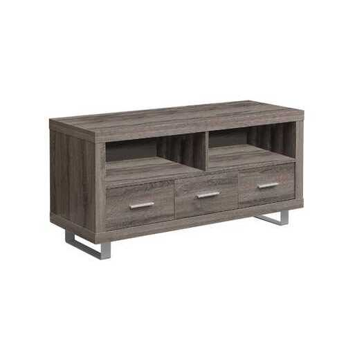 """17'.75"""" x 47'.25"""" x 23'.75"""" Dark Taupe, Silver, Particle Board, Hollow-Core, Metal - TV Stand with 3 Drawers"""
