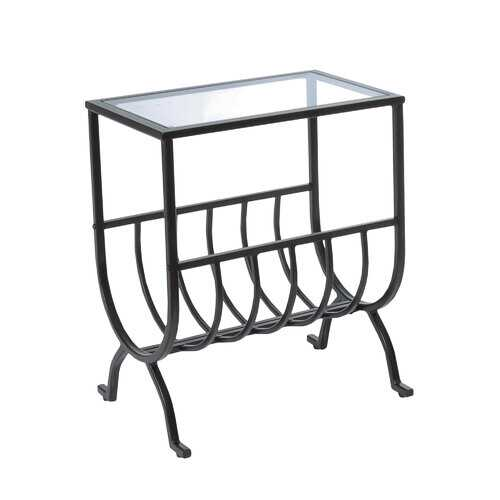 """11.5"""" x 18.25"""" x 22"""" Brown Clear Metal Tempered Glass  Accent Table"""