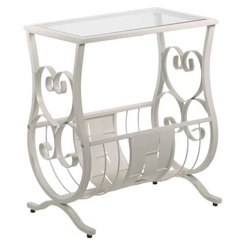 """11.5"""" x 18.5"""" x 21.75"""" White Metal Tempered Glass  Accent Table"""