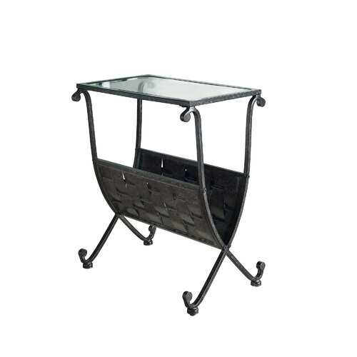 """11.5"""" x 18.5"""" x 22"""" Black Taupe Metal Tempered Glass Accent Table"""