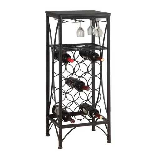 "12.5"" x 16.25"" x 40.5"" Black, Metal, Wine Bottle and Glass Rack - Home Bar"