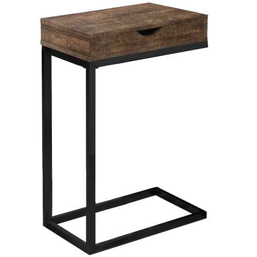 """10'.25"""" x 15'.75"""" x 24'.5"""" Brown, Black, Particle Board, Drawer - Accent Table"""