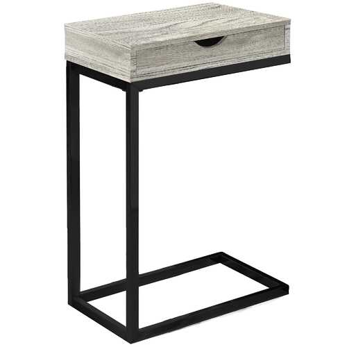 """10'.25"""" x 15'.75"""" x 24'.5"""" Grey, Black, Particle Board, Drawer - Accent Table"""