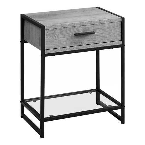 """12"""" x 18"""" x 22"""" Grey/Black Metal - Accent Table with Tempered Glass"""