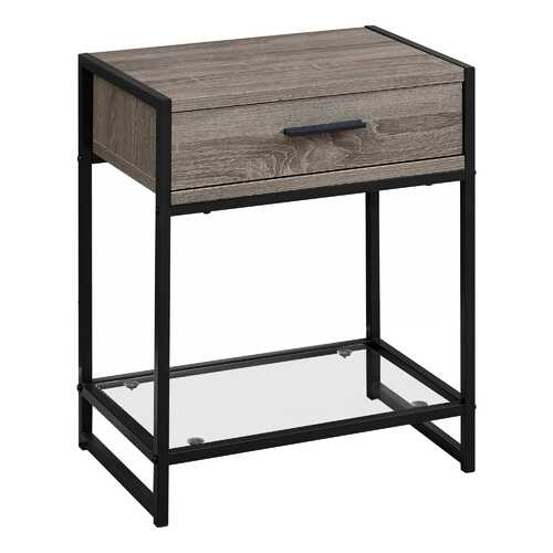 "12"" x 18"" x 22"" Dark Taupe/Black - Accent Table with Tempered Glass"