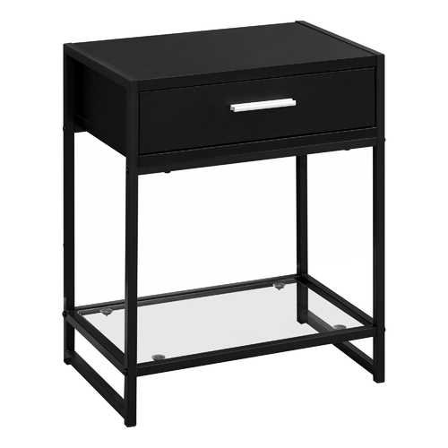 "12"" x 18"" x 22"" Black/Black Metal - Accent Table with Tempered Glass"