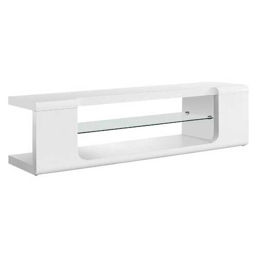 "15.75"" Mdf, Hollow Core, And Clear Tempered Glass Tv Stand"