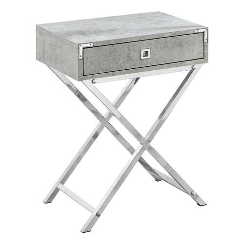 "12"" x 18.25"" x 24"" Grey Cement/Chrome Metal - Accent Table"