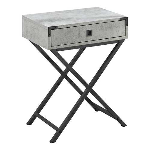 "12"" x 18.25"" x 24"" Grey Cement/Black Nickel Metal- Accent Table"