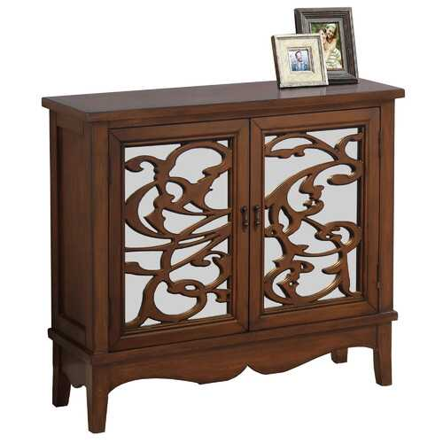 """11"""" x 36"""" x 32"""" Walnut - Accent Chest With Mirrored Glass"""