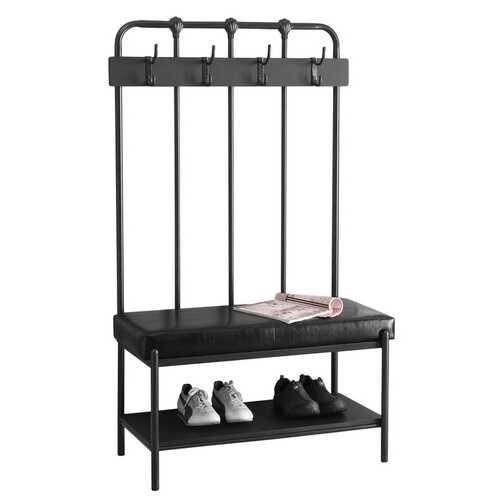 "17'.75"" x 37'.75"" x 60'.5"" Charcoal, Metal, Foam, Leather-Look - Hall Entry Bench"
