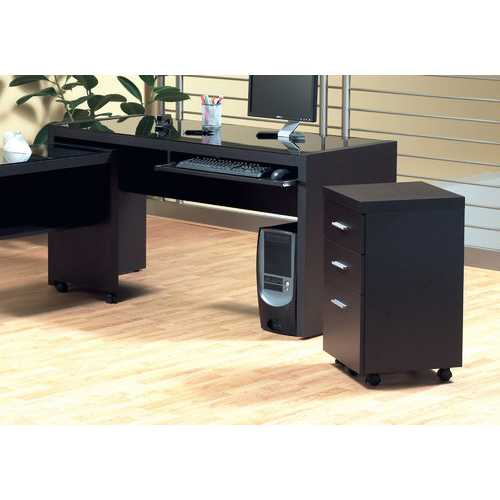 """26.75"""" Cappuccino Particle Board and Hollow Core Filing Cabinet with 3 Drawers"""