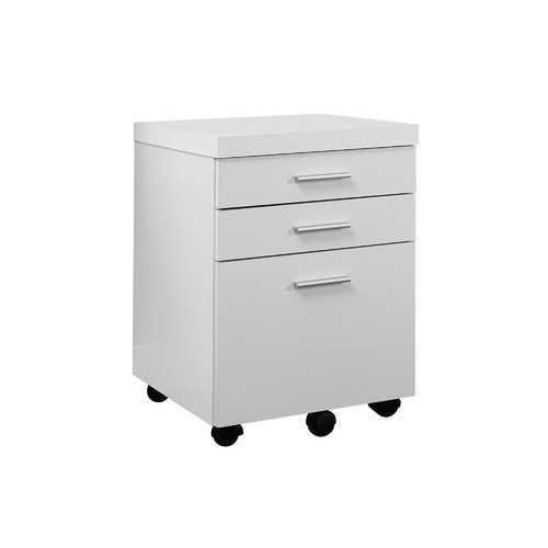 "26.75"" White Particle Board and Hollow Core Filing Cabinet with 3 Drawers"