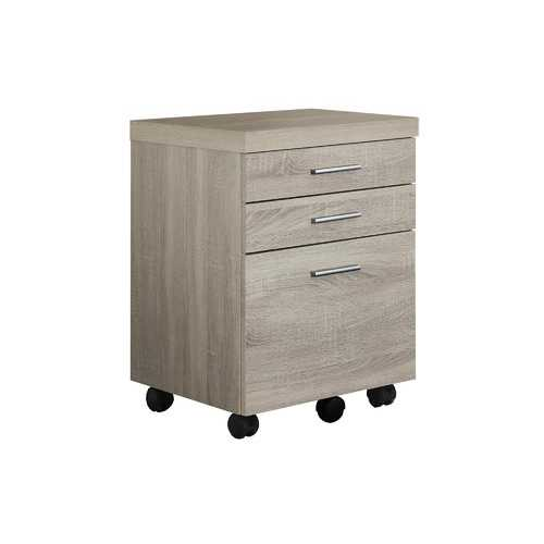 "17.75"" x 18.25"" x 25.25"" Natural, Black, Particle Board, 3 Drawers - Filing Cabinet"