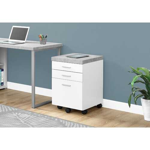 "25.25"" White Particle Board and MDF Filing Cabinet with 3 Drawers"