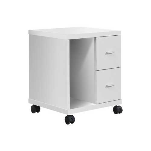 "17.75"" x 17.75"" x 23"" White, Particle Board, Hollow-Core, 2 Drawers - Office Cabinet"