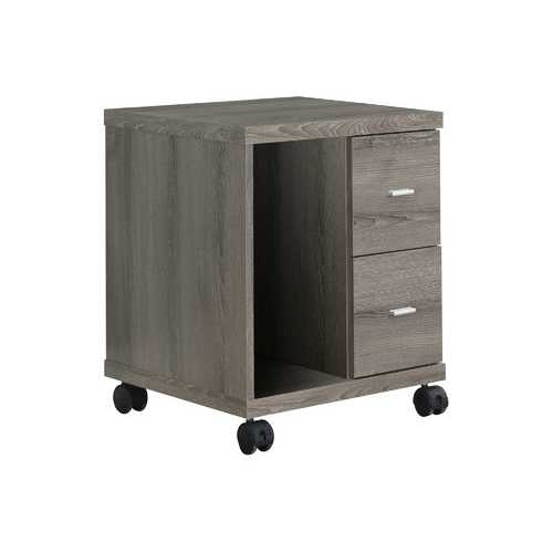 "17.75"" x 17.75"" x 23"" Dark Taupe, Particle Board, Hollow-Core, 2 Drawers - Office Cabinet"