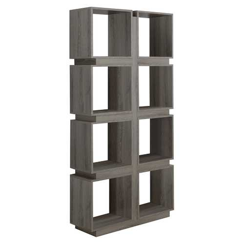 """12"""" x 33.5"""" x 71.25"""" Dark Taupe, Particle Board, Hollow-Core - Bookcase With A Hollow Core"""