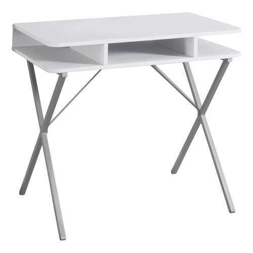 """19.75"""" x 31.5"""" x 29.75"""" White, Silver, Metal - Computer Desk"""