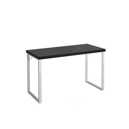 "23.75"" x 47.25"" x 30"" Cappuccino, Silver, Particle Board, Hollow-Core, Metal - Computer Desk"