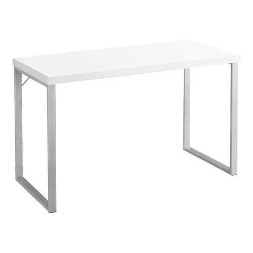 "23.75"" x 47.25"" x 30"" White, Silver, Particle Board, Hollow-Core, Metal - Computer Desk"