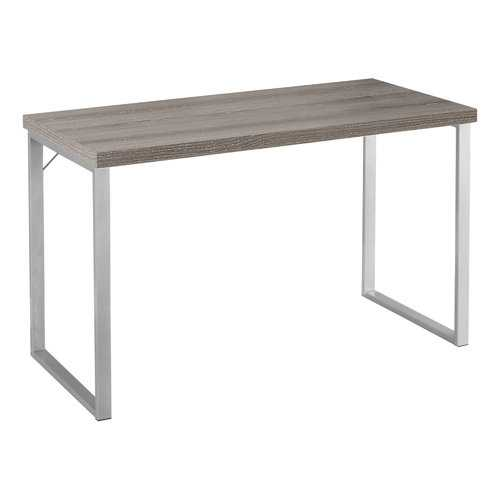 """23.75"""" x 47.25"""" x 30"""" Dark Taupe, Silver, Particle Board, Hollow-Core, Metal - Computer Desk"""