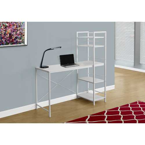 """55"""" MDF and White Metal Computer Desk"""