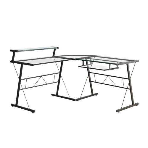 "23"" x 57"" x 36"" Black Metal Corner with Tempered Glass - Computer Desk"