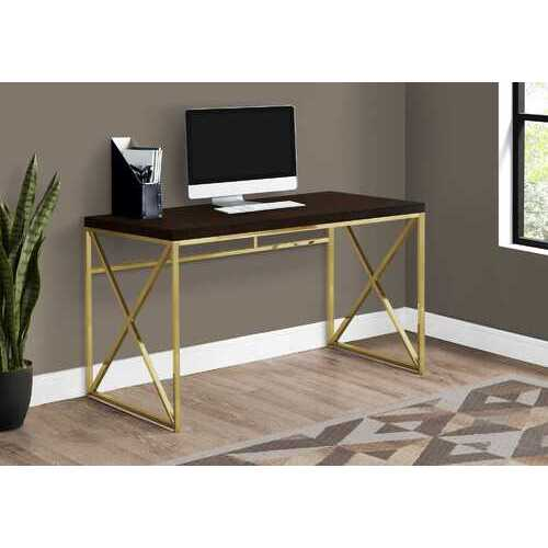 """29.75"""" Particle Board and Gold Metal Computer Desk"""