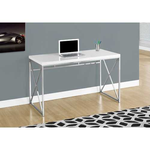 """29.75"""" Glossy White Particle Board and Chrome Metal Computer Desk"""