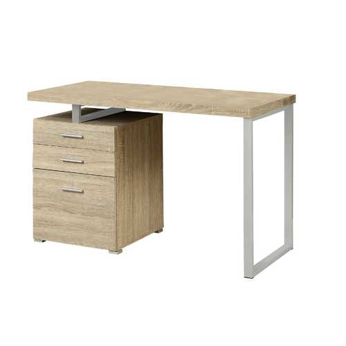 """23.75"""" x 47.25"""" x 30"""" Natural, Silver, Particle Board, Hollow-Core, Metal, - Computer Desk"""
