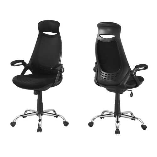 "23'.75"" x 28"" x 93'.75"" Black, Foam, Metal - Office Chair With A High Back"