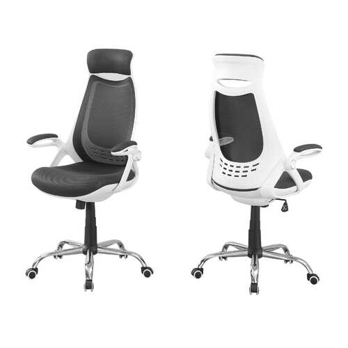 "23'.75"" x 28"" x 93'.75"" White, Grey, Foam - Office Chair With A High Back"