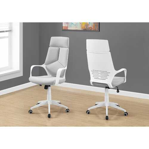 """45.75"""" Foam, White Polypropylene, MDF, and Metal High Back Office Chair"""
