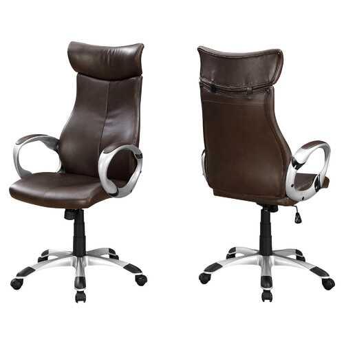 "25.2"" x 26"" x 47.5"" Brown, Foam, Metal, Nylon - Office Chair High Back Executive"