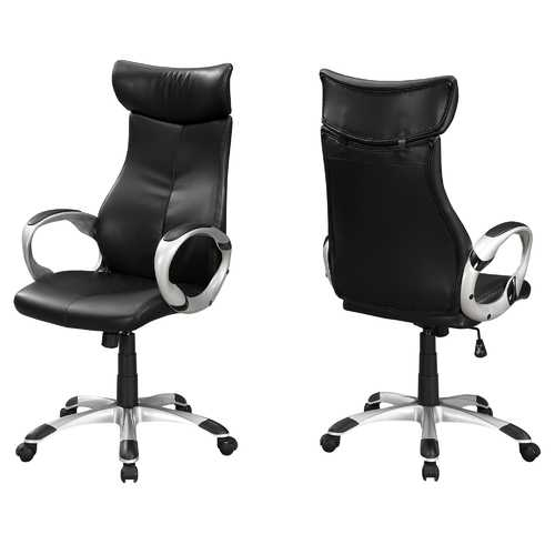 "26"" x 25'.5"" x 99"" Black, Silver, Foam, Metal - High Back Office Chair"
