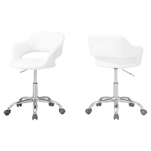 "21"" x 22.5"" x 29"" White, Foam, Metal, Leather-Look, Lift Base - Office Chair"