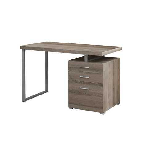 """23.75"""" x 47.25"""" x 30"""" Dark Taupe, Silver, Particle Board, Hollow-Core, Metal, - Computer Desk"""