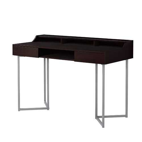"22"" x 48"" x 32"" Cappuccino / Silver Metal - Computer Desk"