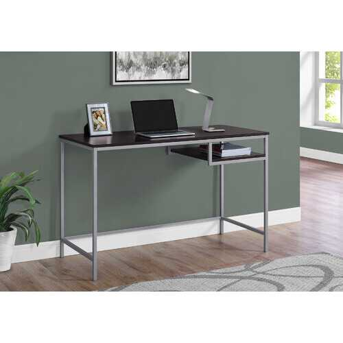 Sleek Chrome and Walnut Finish Computer Desk