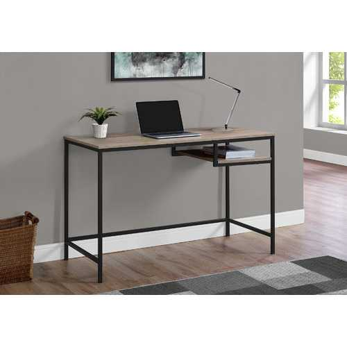 "30"" Dark Taupe MDF and Black Metal Computer Desk"
