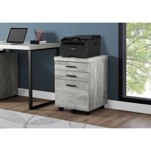 "25.25"" Grey Particle Board and MDF Filing Cabinet with 3 Drawers"