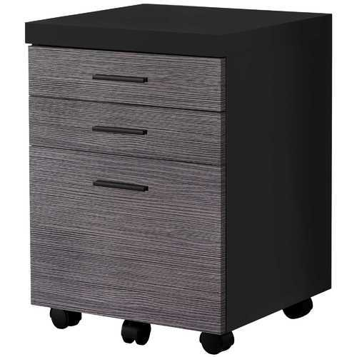 "25.25"" Black Particle Board and MDF Filing Cabinet with 3 Drawers"