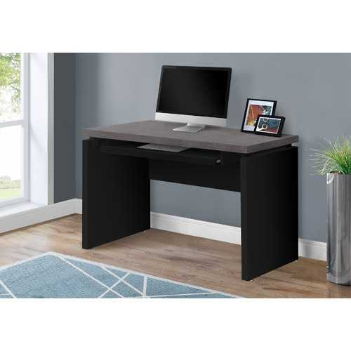 "30.75"" Black Particle Board, MDF, and Laminate Computer Desk with a Grey Top"