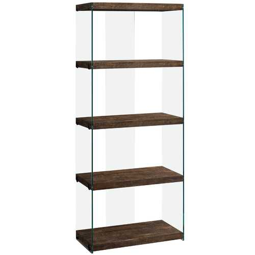 """12"""" x 24"""" x 58.75"""" Brown, Particle Board, Tempered Glass - Bookcase"""