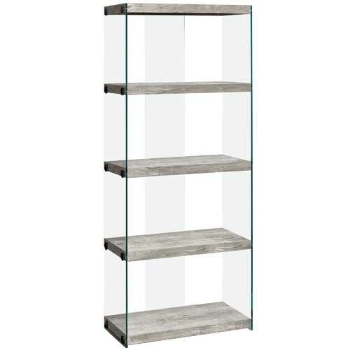 """12"""" x 24"""" x 58.75"""" Grey, Particle Board, Tempered Glass - Bookcase"""